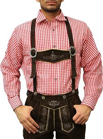Costume chemise fête de la bière carreaux col classique chemise homme