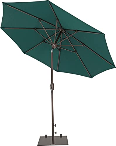 Patio Umbrella – TrueShade Plus Outdoor Patio Umbrella with Push Button Tilt Includes Storage Cover – Freestanding or Table Hole. – 9 Diameter – Forest Green