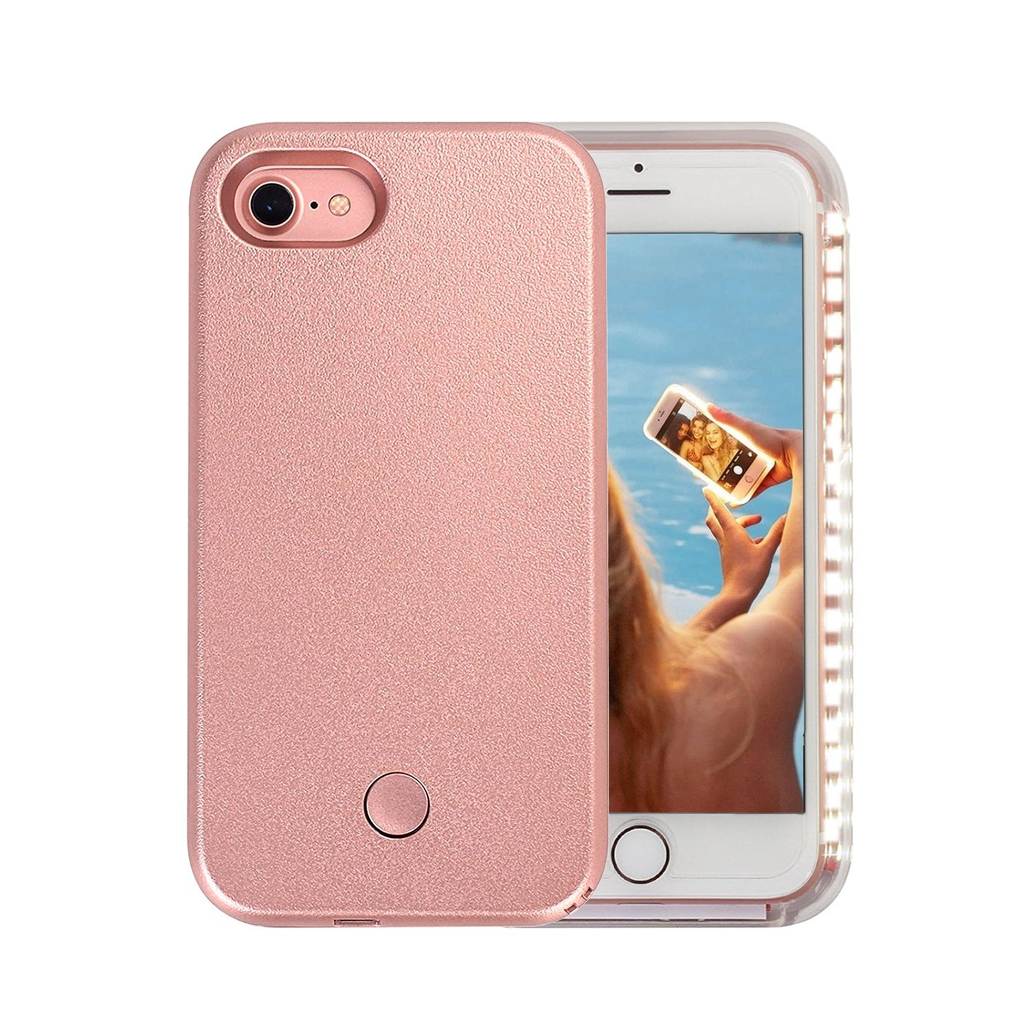 Wellerly iPhone 7 Case, iPhone 8 case, LED Illuminated Selfie Light Cell Phone Case Cover [Rechargeable] Light Up Luminous Selfie Flashlight Case for iPhone 7 / iPhone 8 4.7inch (Rose Gold) Lightcase-Rose-W1