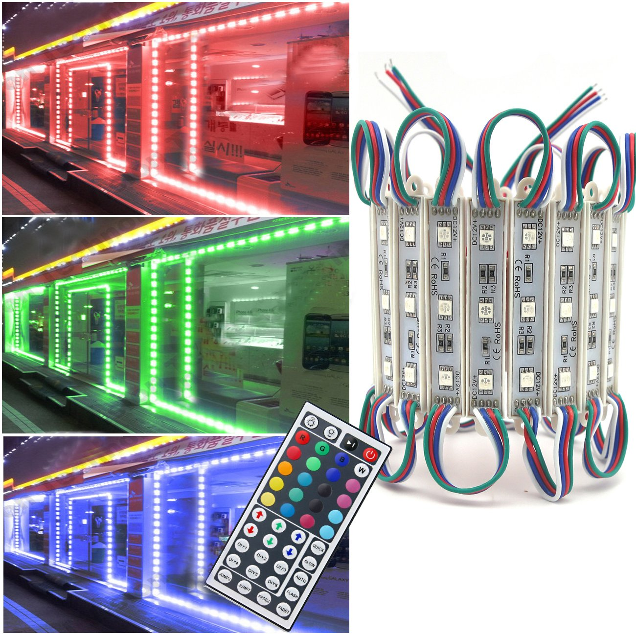 Storefront Lights, Pomelotree 2 Pack 3 Led 40PCS 5050 Super Bright LED Module Lights Waterproof Decorative Light with Tape Adhesive for Store Window Lighting and Advertising Signs by Pomelotree (Image #1)