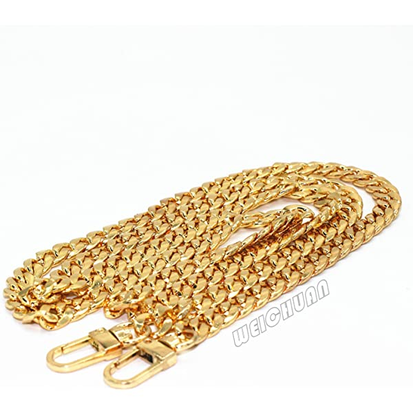 9 mm Width Gold 4 Pieces Purse Chain Strap Replacement DIY Iron Flat Chain Strap Handbag Chains Accessories Purse Straps Shoulder Cross Body Replacement Straps 47 Inch and 8 Inch Long