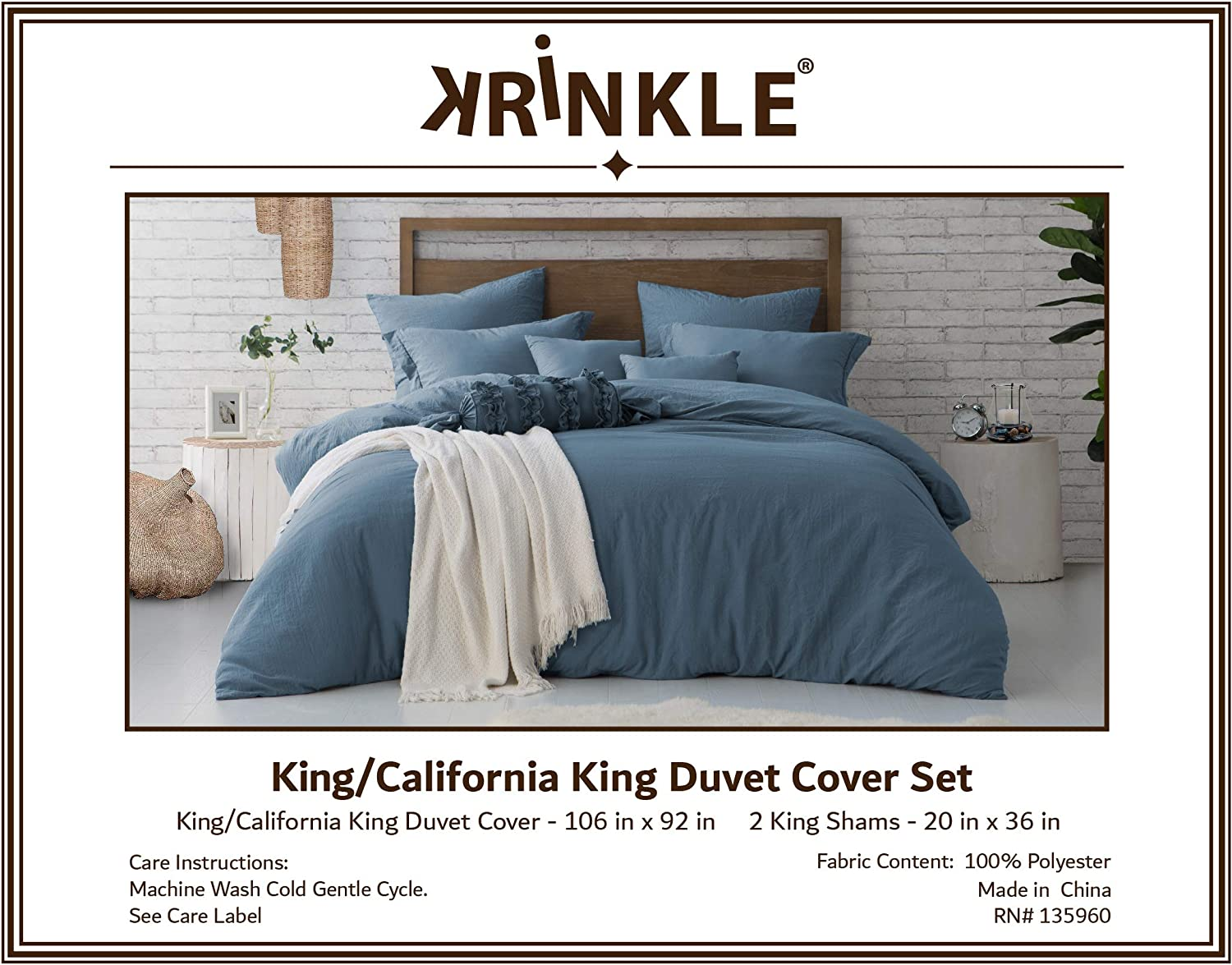 1 Duvet Cover with Zipper Closure /& 1 Pillow Sham Premium Hotel Quality Bed Set Twin//Twin XL Ultra-Soft /& Hypoallergenic Swift Home Microfiber Washed Crinkle Duvet Cover /& Sham Blue Dusk