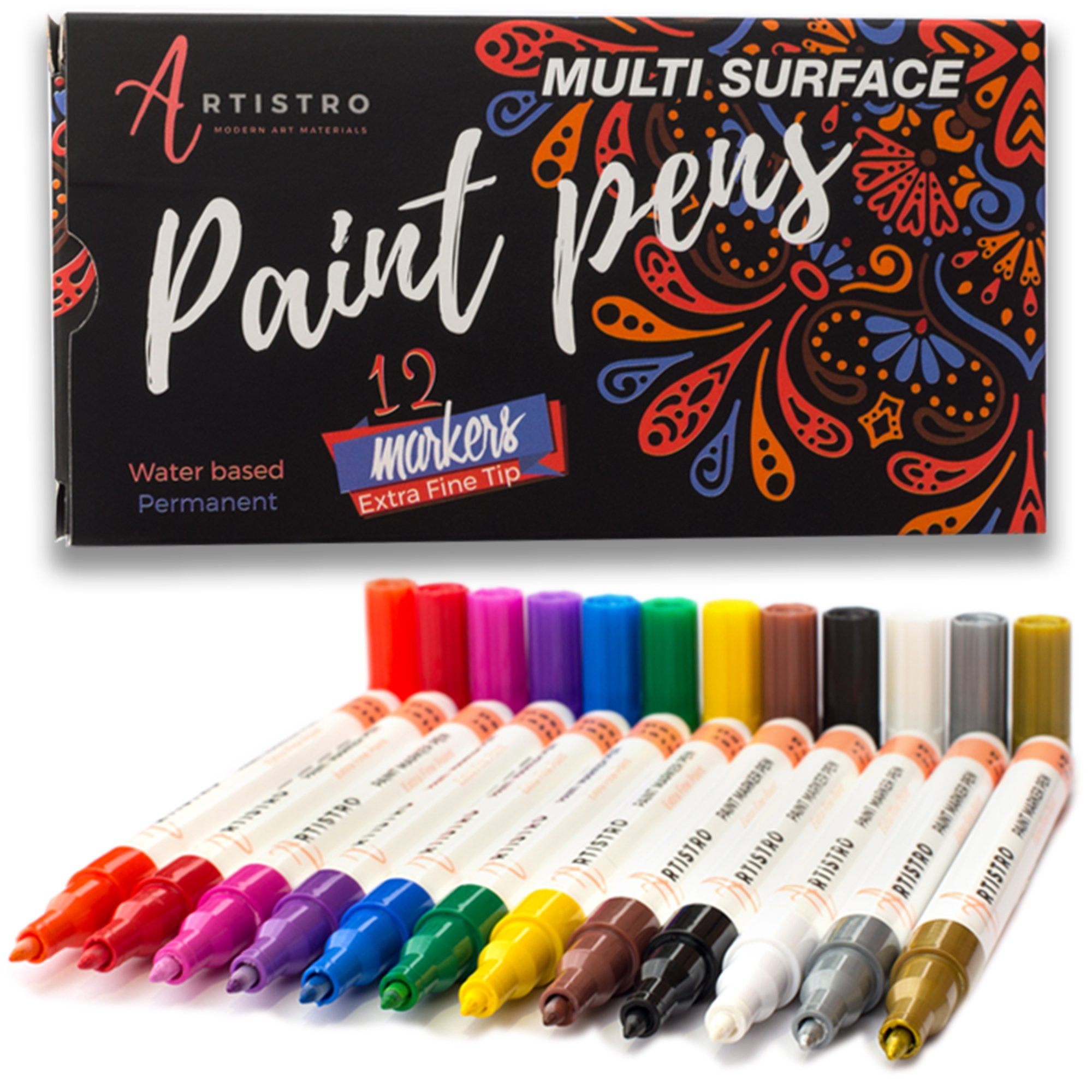 Paint pens for Rock Painting, Stone, Ceramic, Glass. Set of 12 Vibrant Colors. (Extra-fine Acrylic)