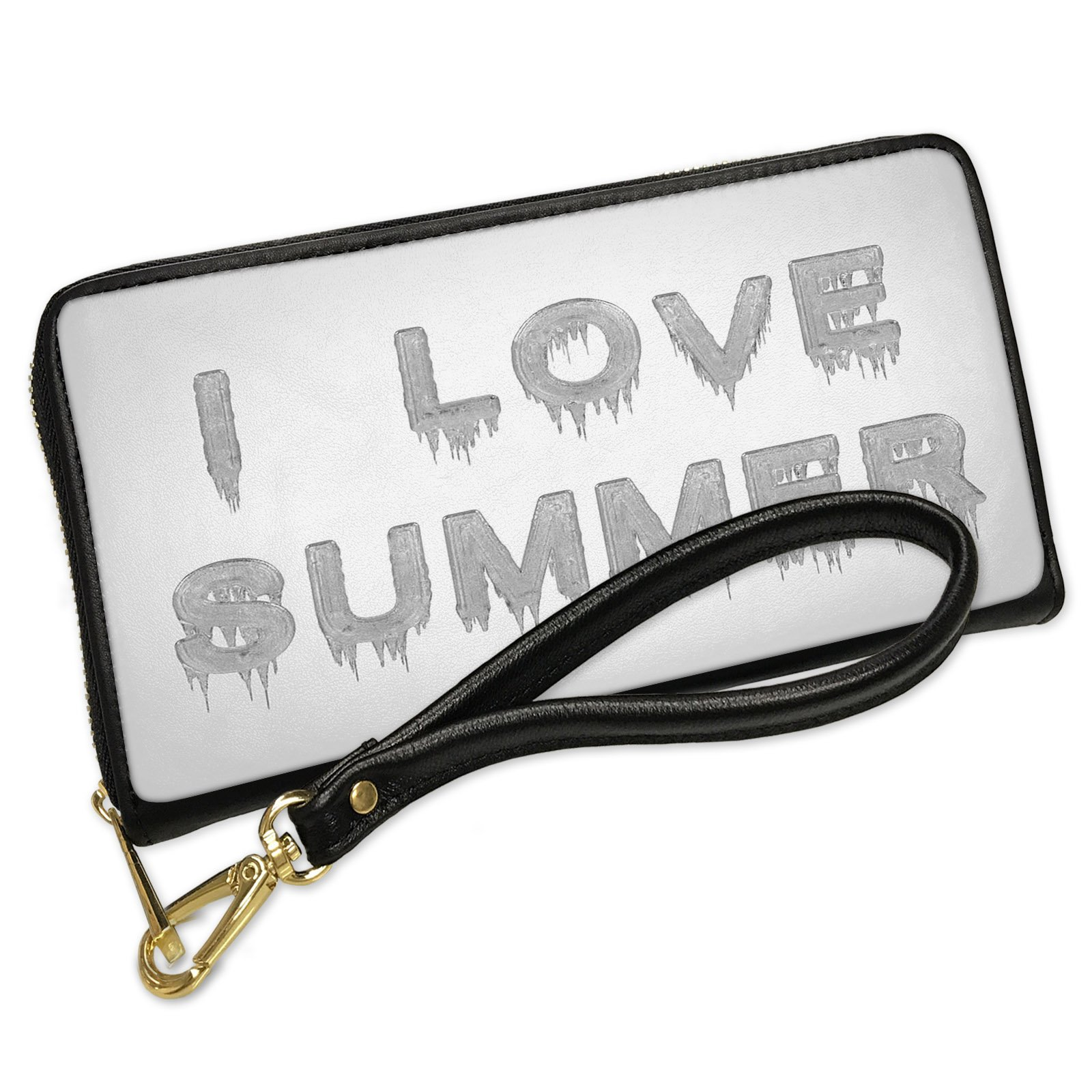 Wallet Clutch I Love Summer Icicles Cold Winter Ice with Removable Wristlet Strap Neonblond