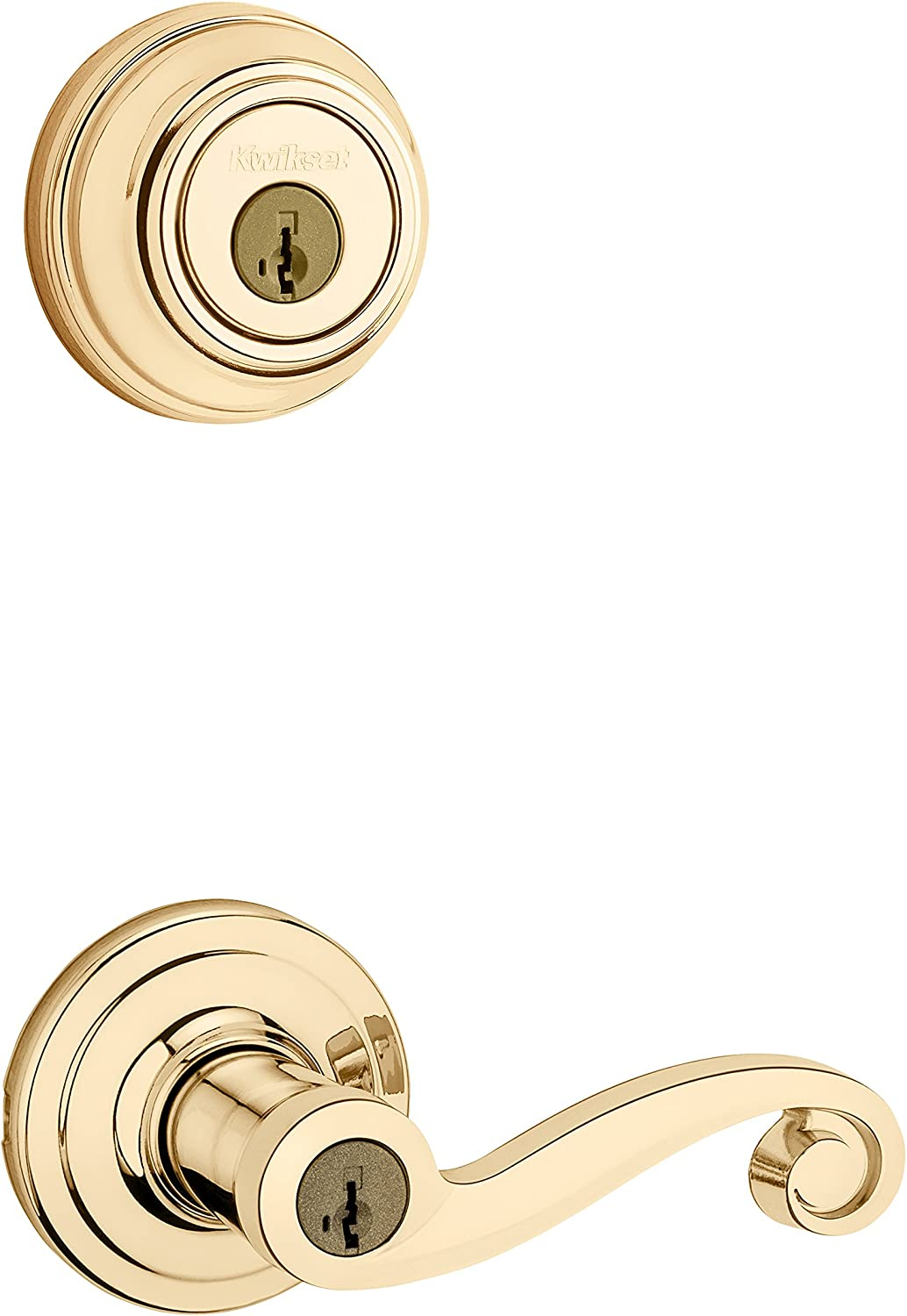 Kwikset Lido Keyed Entry Lever and Single Cylinder Deadbolt Combo Pack with Microban Antimicrobial Protection featuring SmartKey Security in Polished Brass