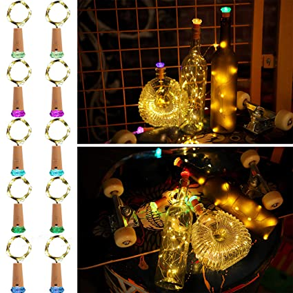 molcoeur wine bottle lights with cork 10 pack fairy battery operated mini lights diamond shaped led