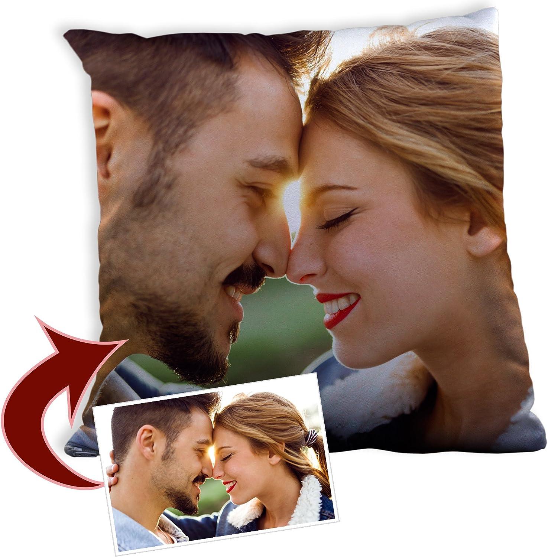 LolaPix Cojin Personalizado con Foto. Regalos Personalizados con Foto. Impresión Total por Las 2 Caras hasta la Costura. Relleno Incluido. Varios Tamaños. 35X35