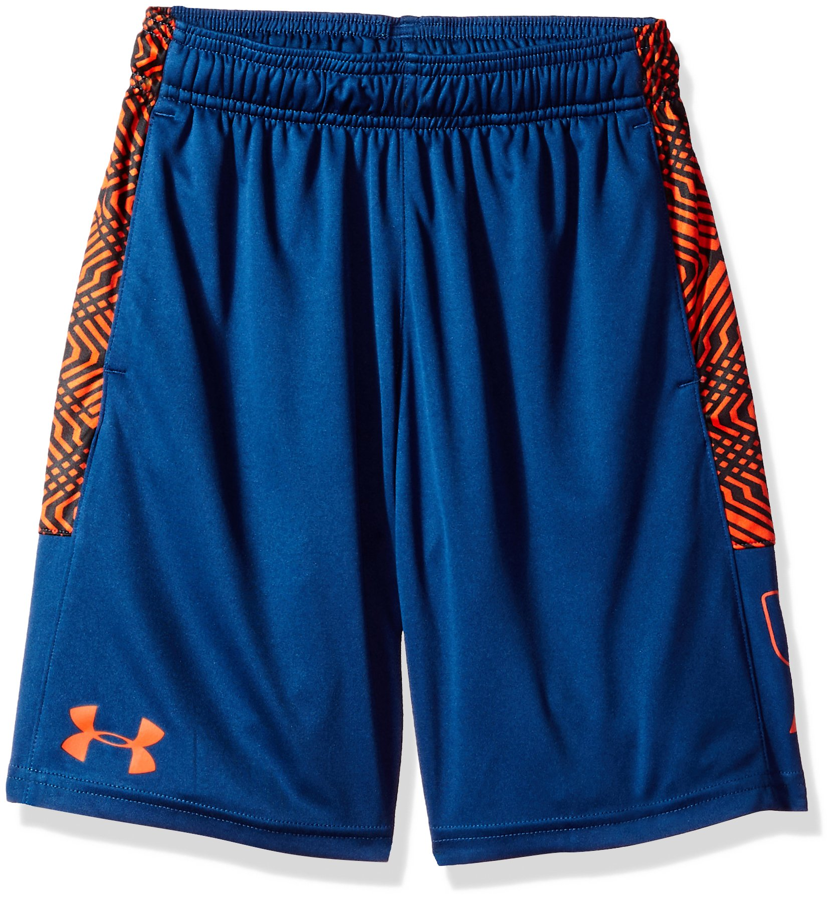 Under Armour Boys' Instinct Printed Shorts, Blackout Navy /Overcast Gray Youth X-Small