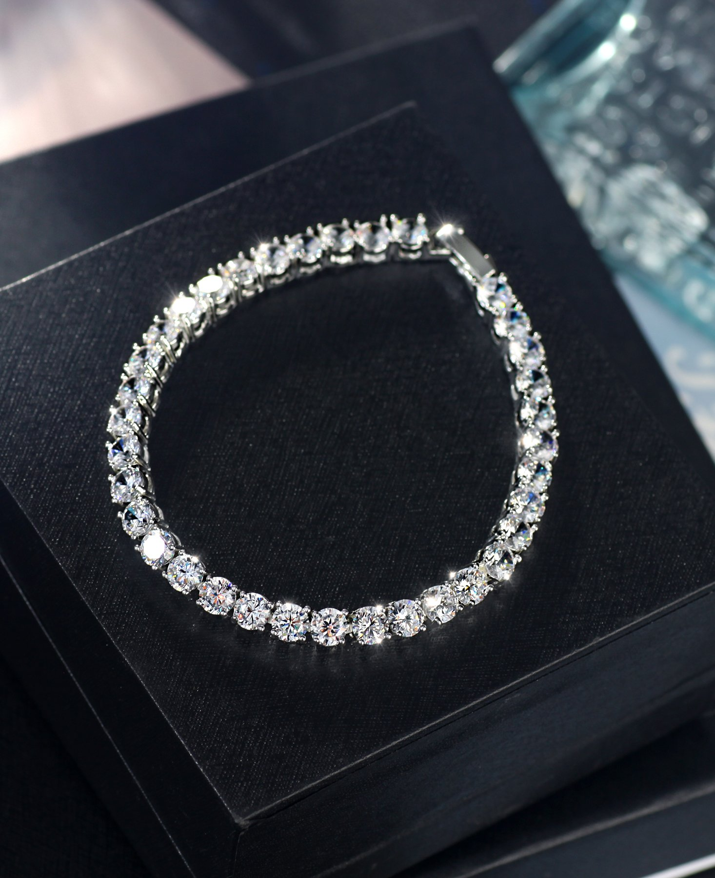 Neoglory Jewelry S925 Silver White Round-Cut Cubic Zirconia Classic Tennis Bracelet 7.7Inch by Neoglory (Image #6)