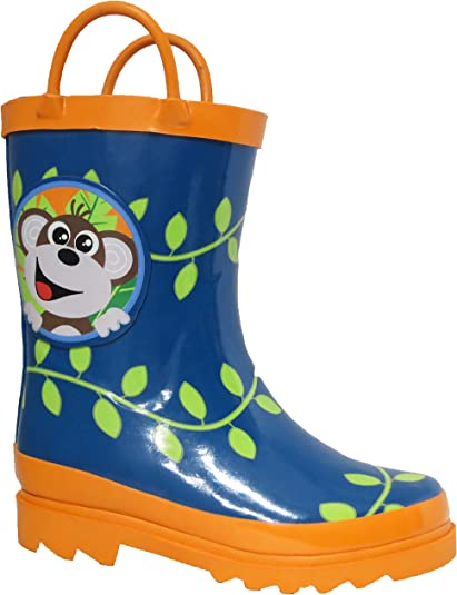 Toddler /& Little Kids Boys Pirate Printed Waterproof Easy-On Rubber Rain Boots