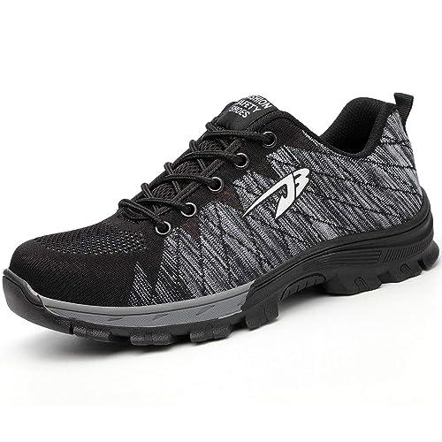 AONEGOLD Zapatillas de Seguridad con Puntera de Acero Zapatos de Trabajo Ligeros Antideslizante Senderismo Unisex-Adulto