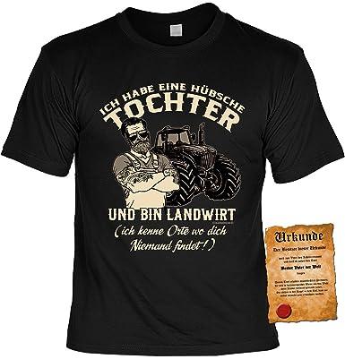 Papa Tochter Sprüche-Tshirt - Vater T-Shirt Geburtstag - Geschenk-Shirt : Ich  Habe eine Hübsche Tochter und Bin Landwirt - Tshirt Vatertag Sprücheshirt  ...