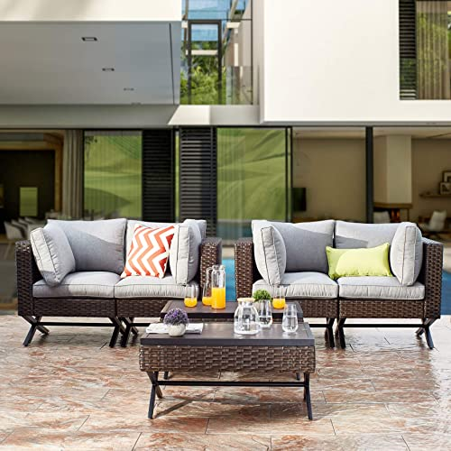 PatioFestival Patio Loveseat 2-Person Cushioned Outdoor Bench
