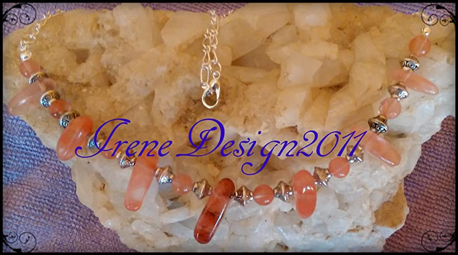 Strawberry Quartz Necklace by IreneDesign2011