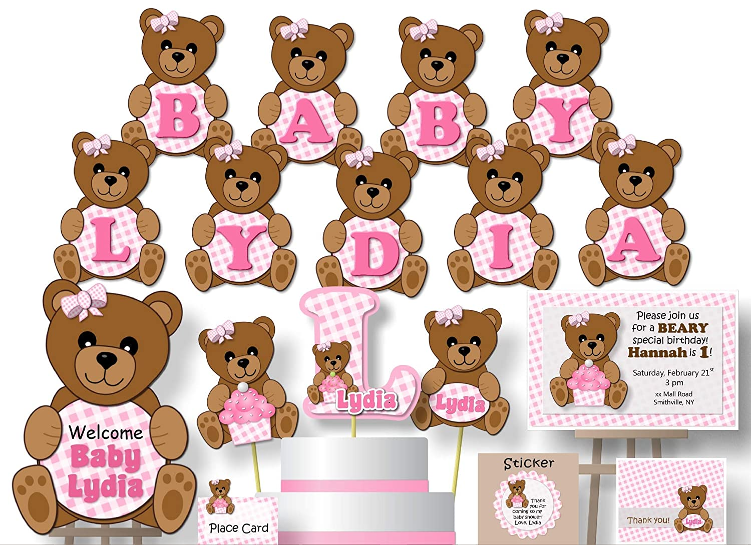 Set of 10 Item 1336A Personalized Teddy Bear Baby Shower Favors or Birthday Party Favors Custom Muslin Cotton Bags