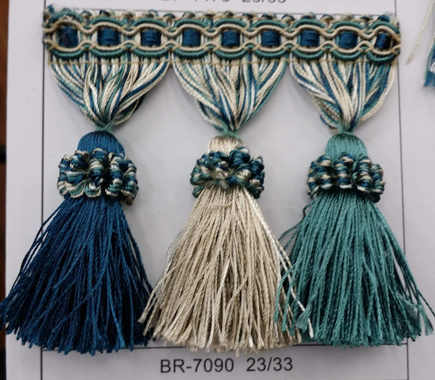 Sold by The Yard Beaded Tassel Fringe Trim 3.5 Style# Bf 1478NEW 2015Elegance Collection 49//11Charcoal//Silver 12 Colors Available