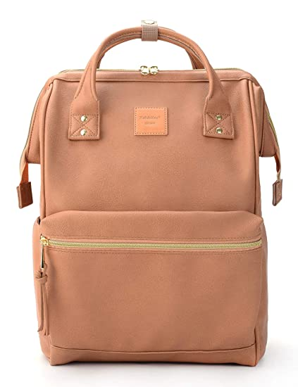721c37341c8 Kah&Kee Leather Backpack Diaper Bag with Laptop Compartment Travel School  for Women Man (Tan Pink, Large)