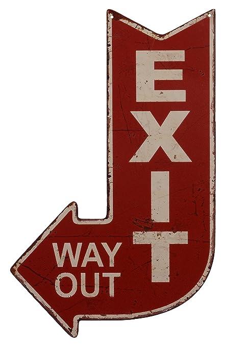 Cartel de chapa decorativo, señal de salida, estilo antiguo ...