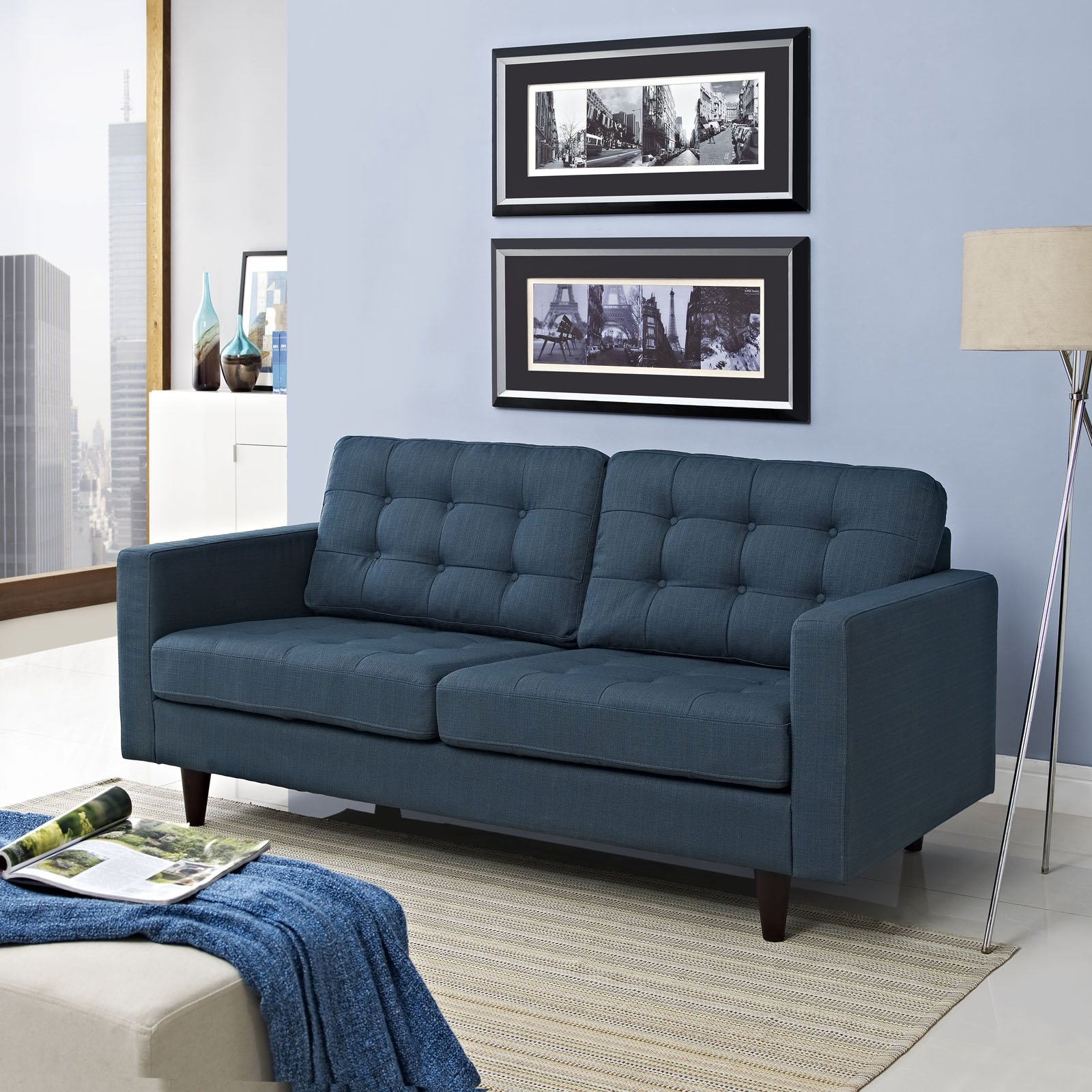 Modway Empress Mid-Century Modern Upholstered Fabric Loveseat In Azure by Modway (Image #5)