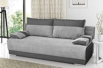 Couch Mit Schlaffunktion Und Bettkasten Sofa Schlafsofa Wohnzimmercouch Bettsofa Ausziehbar NISA Grau