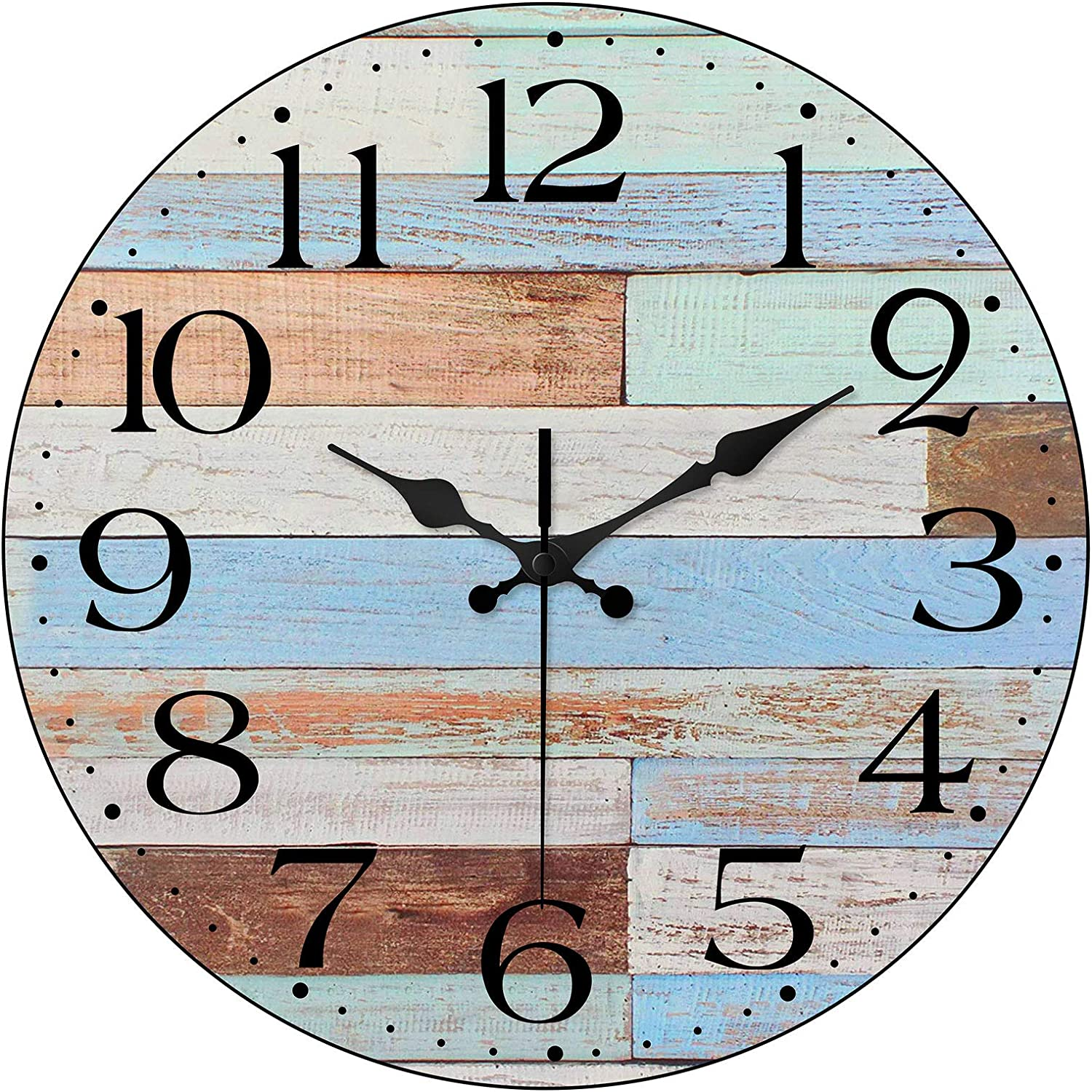 LAMIKO Wall Clocks Non-Ticking Silent 12 Inch Battery Operated Vintage Coastal Quartz Decro Clock Easy to Read for Room/Home/Kitchen/Bedroom/Office/School, Worn Blue