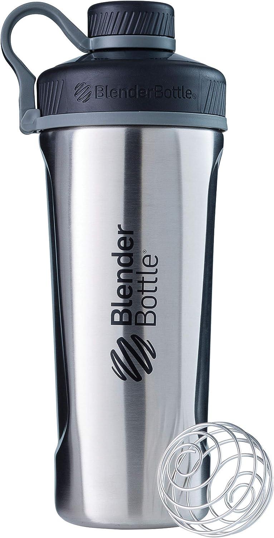 BlenderBottle Radian de acero inoxidable | Botella de agua | Botella mezcladora de batidos de proteínas | con batidor Blenderball | libre de BPA | Natural - 770ml