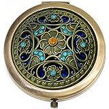 La Viano® Schminkspiegel Makeup-Spiegel Handspiegel Taschenspiegel Vintage Blumen Colors Design Bling Accessoire