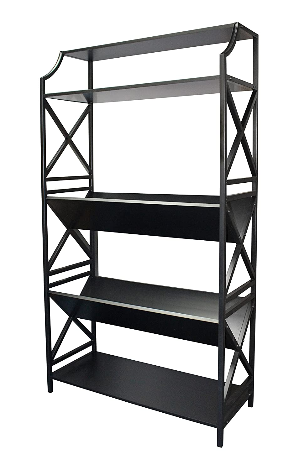 eHemco 5 Shelf Metal Bookcase with 2 Shelves on a Slant v-Shape and X Sides