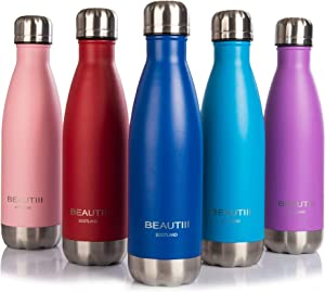 Beautiii 17oz Premium Quality Stainless Steel Double Wall Vacuum Insulated Leak-Proof Cola Shape Water Bottle | Keeps Drinks Cold for up to 24 Hours & Hot for up to 12 Hours (Light Blue)
