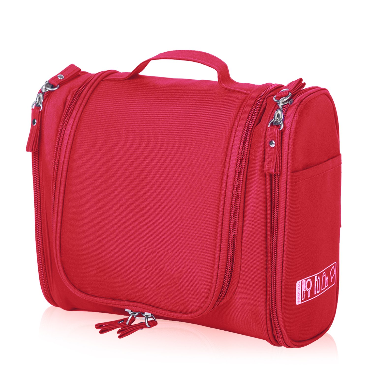 Hanging Toiletry Bag Travel Cosmetic Kit - Large Essentials Organizer - Sturdy Hook Makeup bag - Heavy Duty Waterproof for Men and Womens (Red)