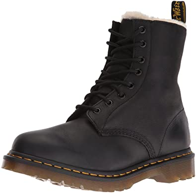 Dr. Martens Women's Serena Burnished Wyoming Leather Fashion Boot, Black  Burnished, 3 Medium