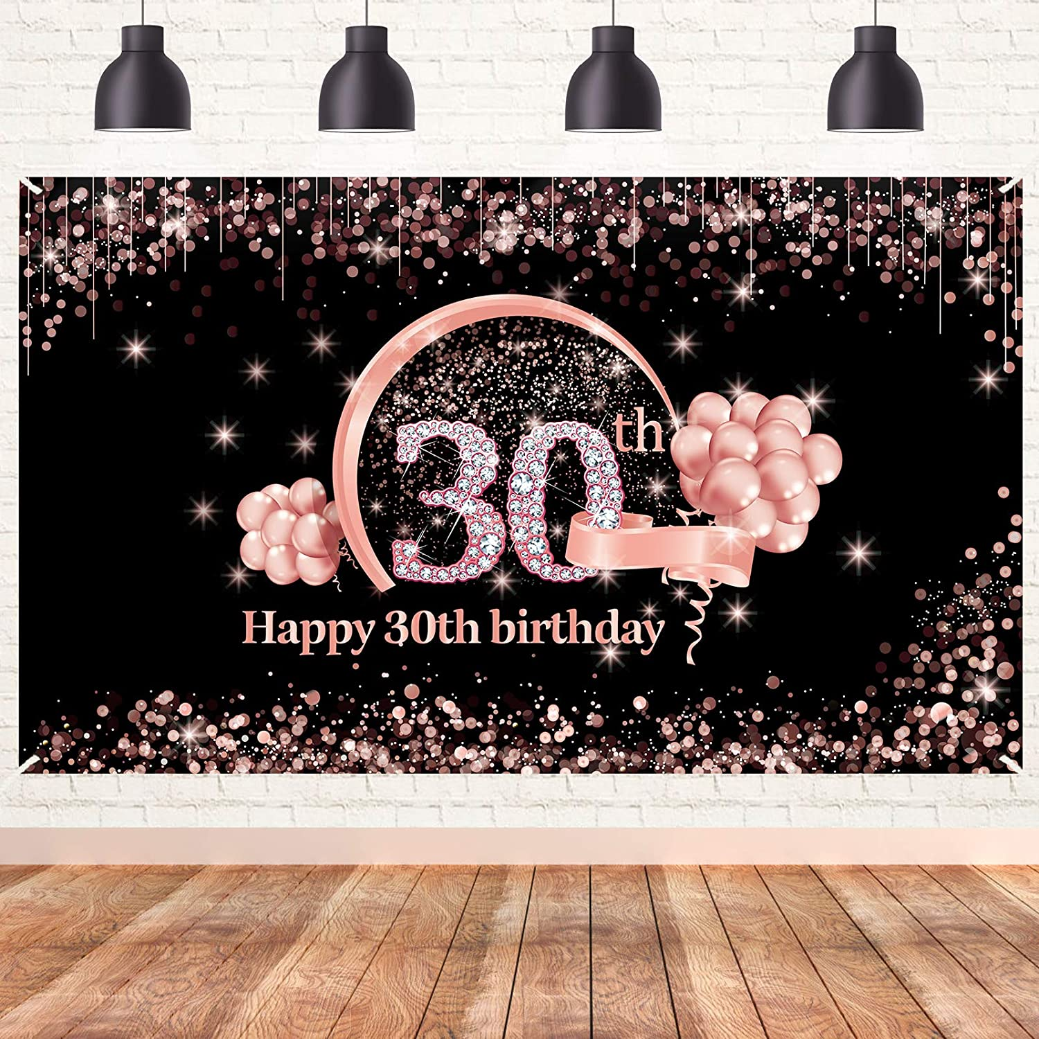 Lnlofen 30th Birthday Banner Backdrop Decorations Supplies for Women, Rose Gold 30 Year Old Birthday Party Poster Decor, Extra Large Happy Thirty Birthday Photo Booth Props Sign for Outdoor Indoor