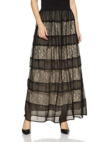 83d89d99f Forever 21 Women's Contemporary Lace Maxi Skirt 213115, M, Black/Nude:  Amazon.in: Clothing & Accessories