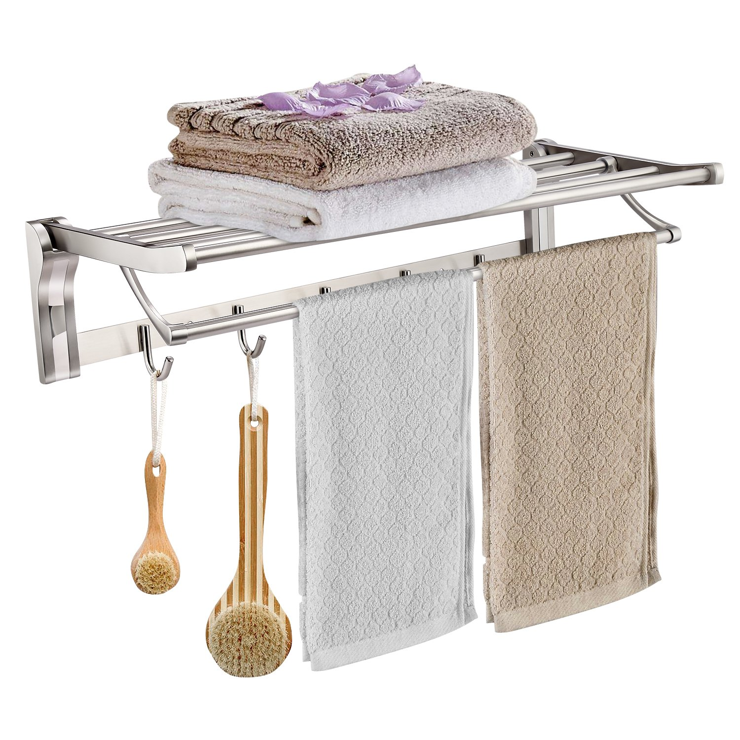 Homdox Bathroom Shelves Wall Mounted Towel Rack Stainless Steel Foldable with 5 Hooks Folding/Swivel Towel Bar Brushed Finish for Hotel/Home (23.6 Inch)