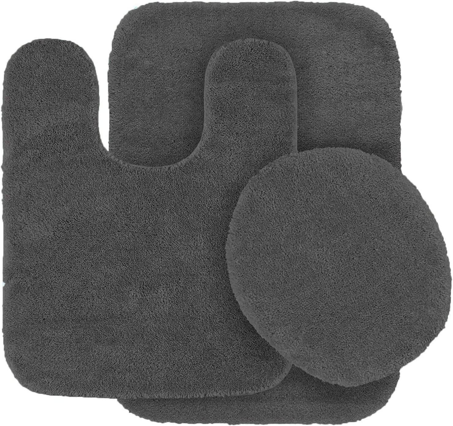 MK Home Collection 3 Piece Bathroom Rug Set Bath Rug, Contour Mat & Lid Cover Non-Slip with Rubber Backing Solid New (Charcoal/Dark Grey)