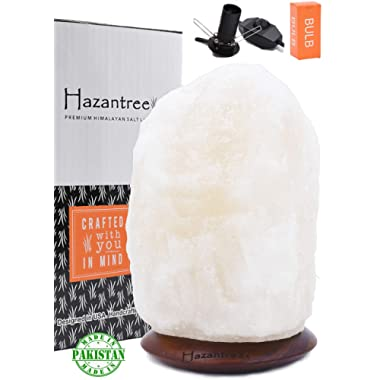 Hazantree Sutlej (5-8 lbs, 8  to 9 ) Pearl White Himalayan Salt Lamp with Rosewood, Dimmer Cord -Made in Pakistan- hymalain Salt Lamps, Salt Rock lamp, White hymalain Salt Lamps, himilian Salt lamp