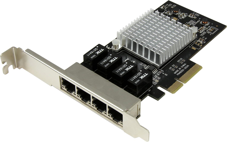 StarTech.com 4 Port PCIe Network Card - RJ45 Port - Intel i350 Chipset - Ethernet Server / Desktop Network Card – Dual Gigabit NIC Card (ST4000SPEXI),Black