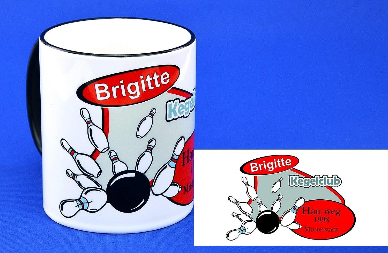 MotivKegeln mit Wunschnamen bedruckte Keramiktasse Rim /& Handle