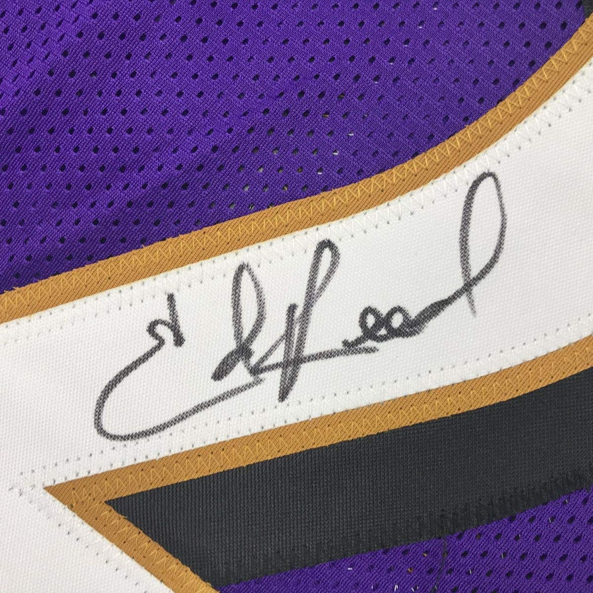 Autographed//Signed Ed Reed Baltimore Purple Football Jersey JSA COA
