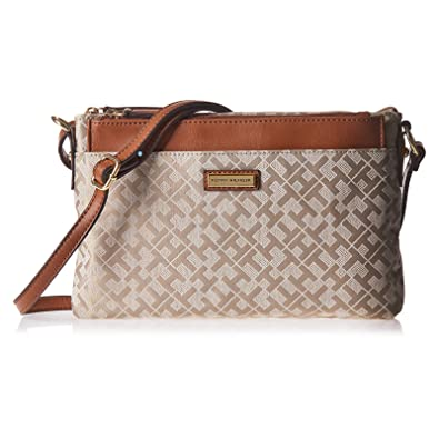 67c6b69786 Tommy Hilfiger Crossbody Bag for Women - Canvas, Brown: Amazon.ae ...