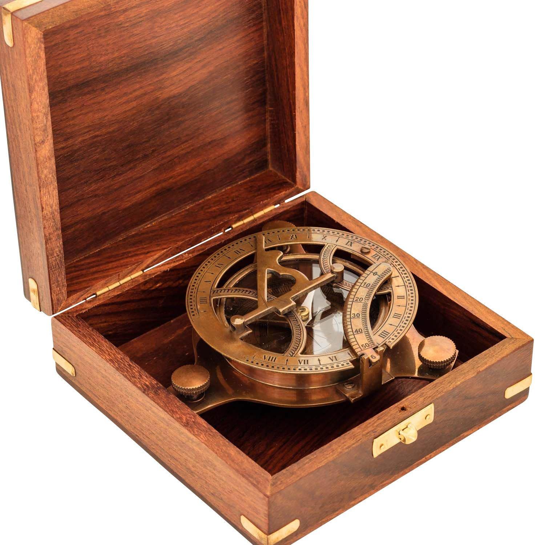 Kompass Maritim Sonnenuhr Navigation Messing Glas Antik-Stil Replik - 13cm
