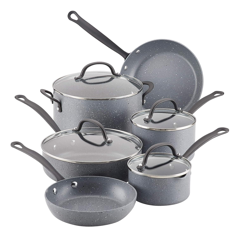 Farberware 10594 10-Piece Aluminum Cookware Set, Gray Speckle