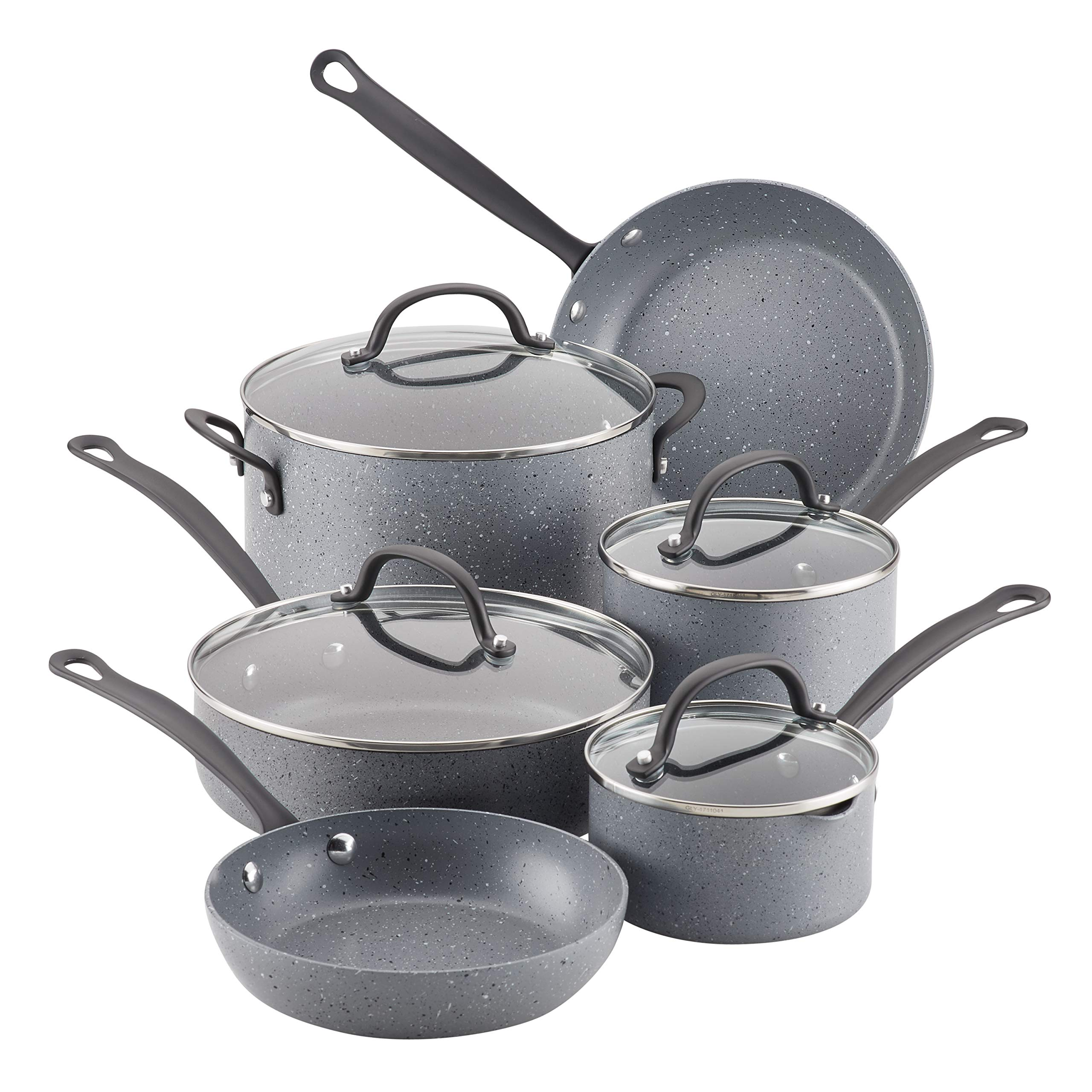 Farberware 10594 10-Piece Aluminum Cookware Set, Gray Speckle by Farberware (Image #1)