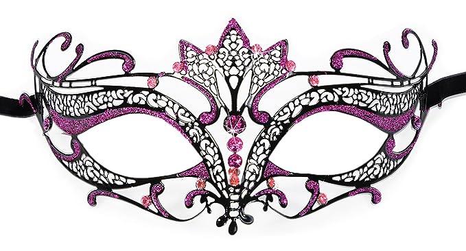 Womens Metal Phantom Filigree Laser-Cut Venetian Masquerade Mask Hot Pink
