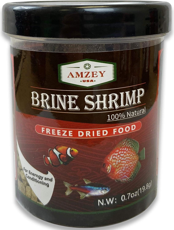 Amzey U.S.A. 0.7 oz Freeze Dried Brine Shrimp-100% Natural Fish Food, High Protein Brine Shrimp for Betta Fish, Goldfish, Cichlid, Guppy, Turtle