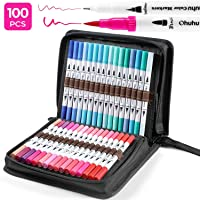100 Colors Art Markers Set, Ohuhu Dual Tips Coloring Brush Fineliner Color Marker Pens, Water Based Marker for Calligraphy Drawing Sketching Coloring Book Bullet Journal Art Project for (100 Colors)