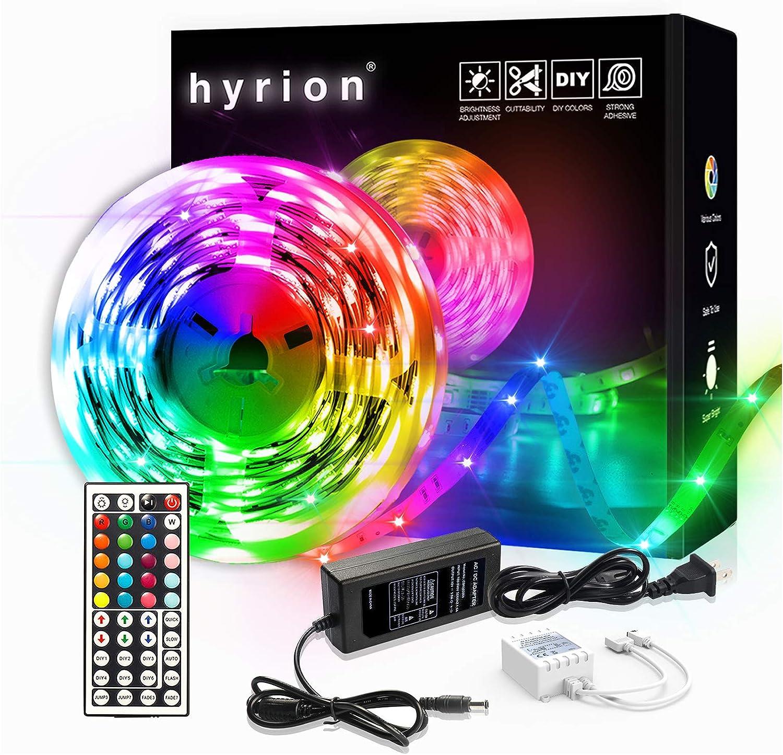 25ft LED Strip Lights, 1 Roll of 25ft hyrion LED Lights for Bedroom with 44 Keys Remote for Bedroom, Kitchen, Desk, Color Changing Led Strip for Home Decoration