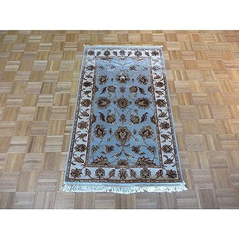 Amazoncom 3 X 5 Hand Knotted Fine Tabriz Light Blue Oriental Rug