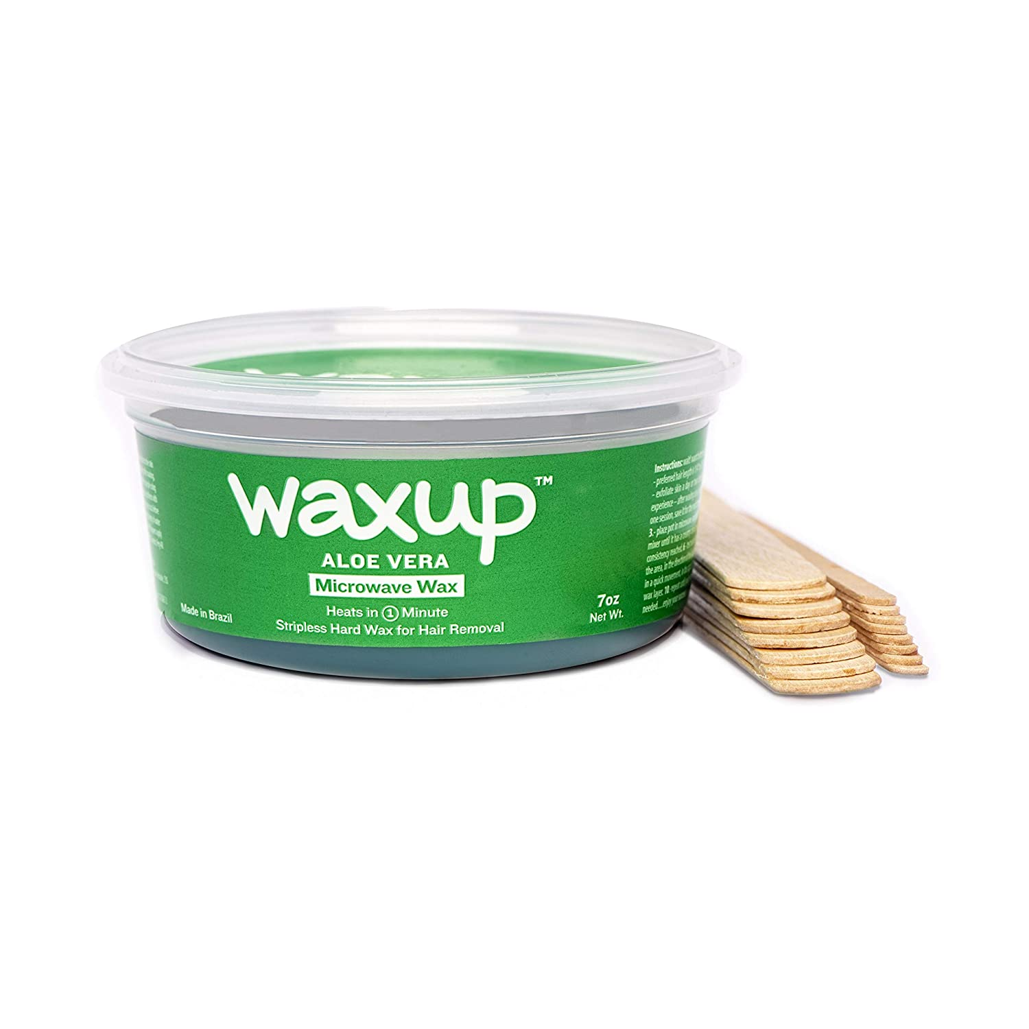 Waxup Microwave Hard Wax Kit, Aloe Vera, 7 Ounces Pot with 8 Large Wax Sticks, Home Waxing, Stripless Microwaveable Hot Hair Removal Wax for Body, Face, Eyebrows, Nose, Ear, Upper Lip, Legs and Arms.
