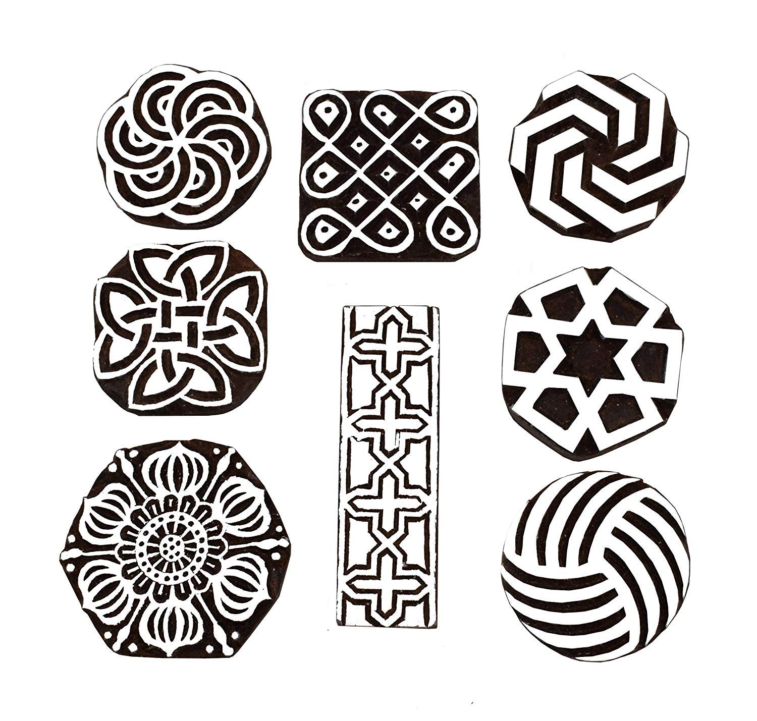 Block Printing Stamps/Wooden Stamping Block/Handcarved Designer Craft Printing Pattern for Saree Border,Henna/Textile Printing Set of 8